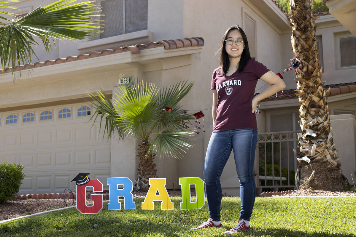 Coronado High School graduate Katie Lim, who will attend Harvard in the fall, stands for a port ...