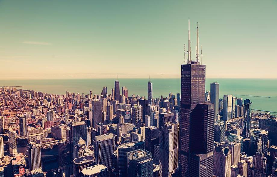Downtown Chicago aerial view.