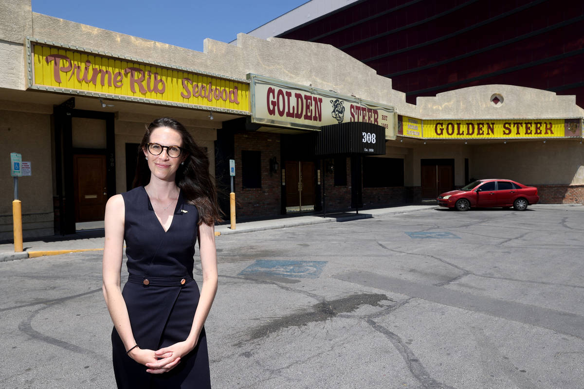 Amanda Signorelli, managing partner of Golden Steer Steakhouse on Sahara Avenue near the Strip ...