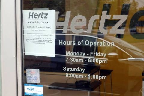A Hertz Car Rental is closed during he coronavirus pandemic on Wednesday, May 6, 2020 in Paramu ...