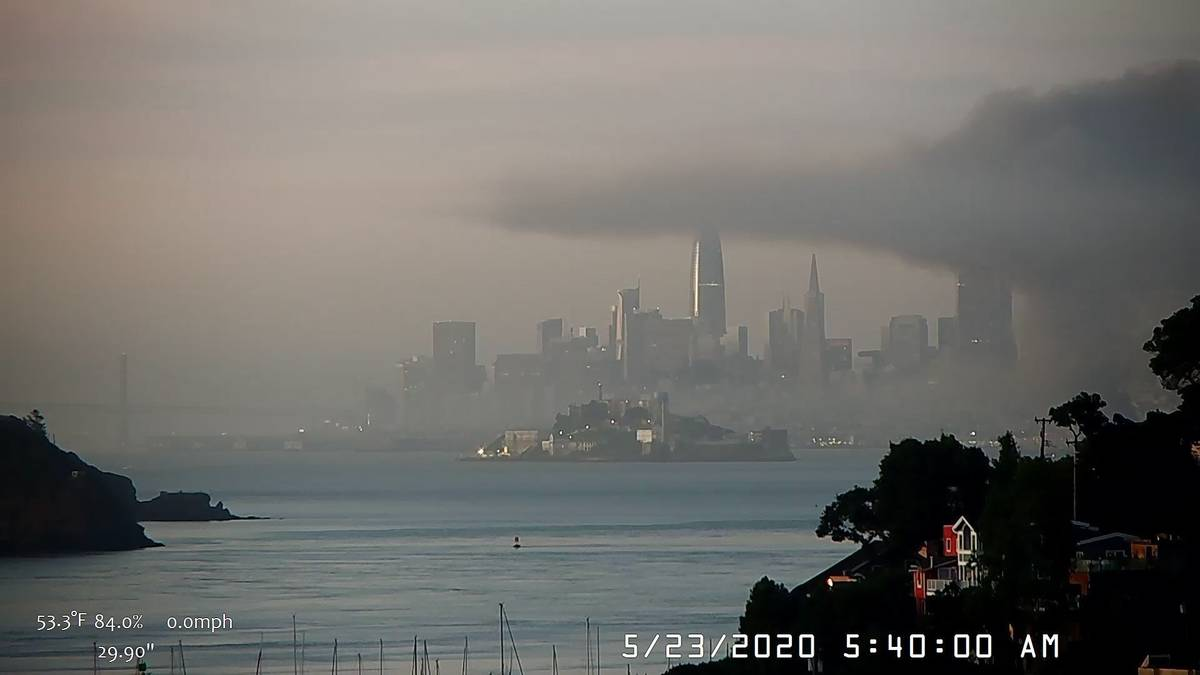 This photo provided by National Weather Service San Francisco Bay Area, smokey conditions linge ...
