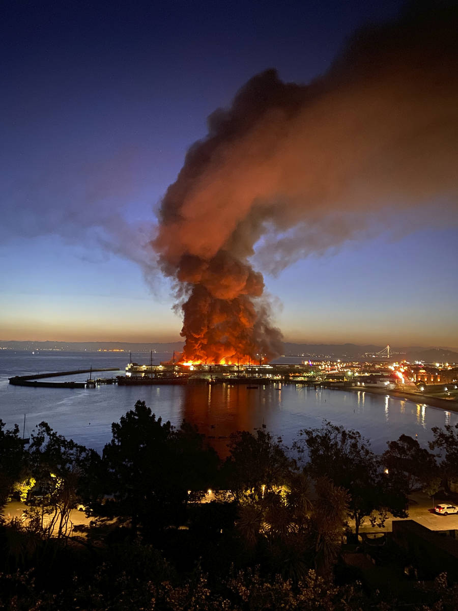 This photo courtesy of Dan Whaley, @dwhly, shows a warehouse fire burning at San Francisco's Fi ...