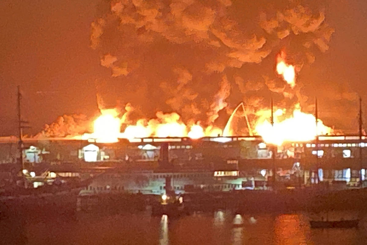 San Francisco firefighters battle a blaze Saturday, May 23, 2020. (Dan Whaley, Twitter)