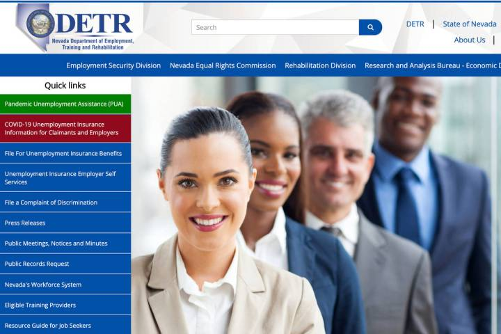 A screenshot of Nevada Department of Employment, Training and Rehabilitation's website. (DETR)