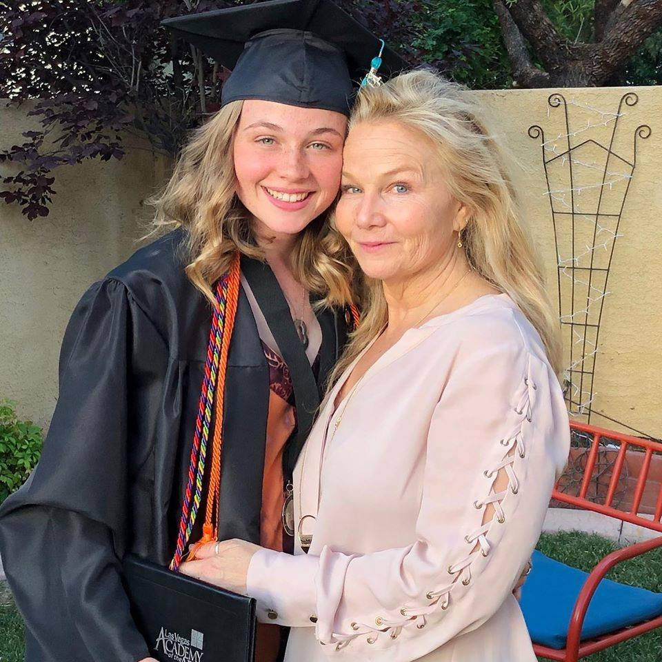 Megan Belk and her daughter Andress are shown the day Andress graduated from Las Vegas Academy ...