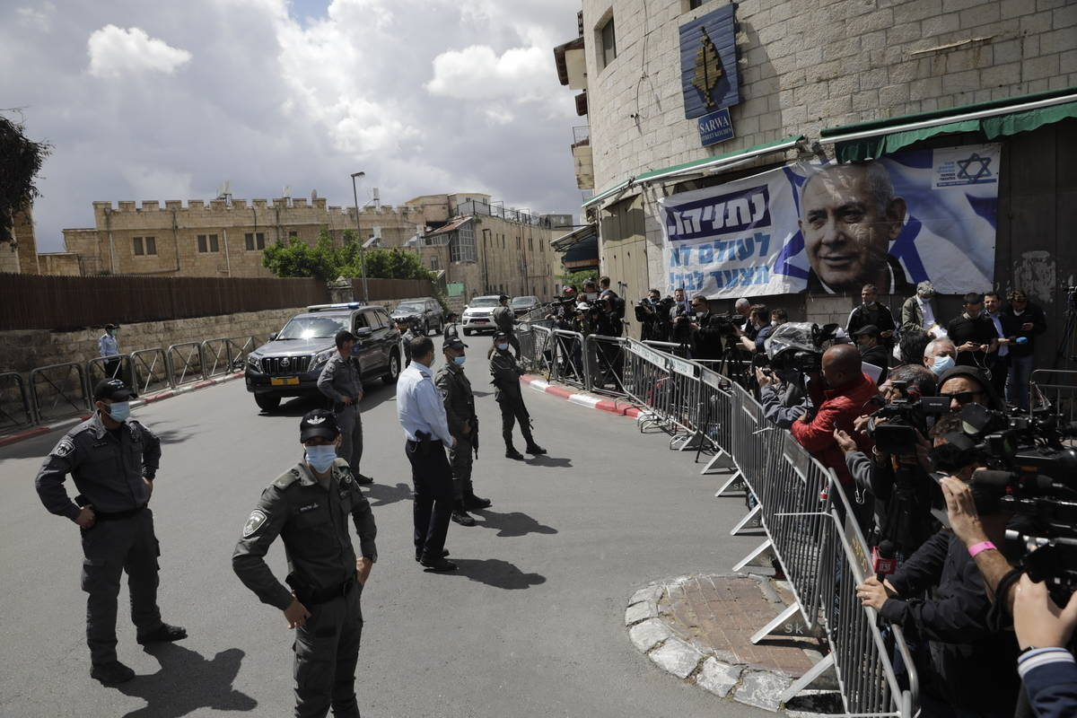 Israeli Prime Minister Benjamin Netanyahu's convoy arrives to Jerusalem district court In Jerus ...