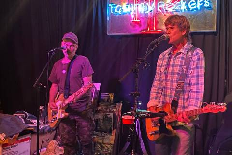 Joey Vitale, left, and Tommy Rocker perform Saturday, May 23, 2020, at Tommy Rocker's Mojave ...