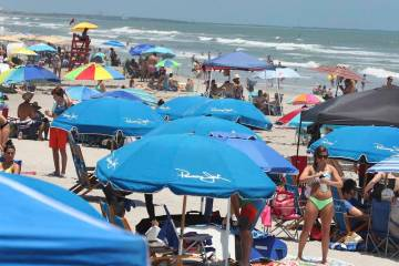 Cocoa Beach, Fla., is packed with Memorial Day beachgoers on Saturday, May 23, 202 The beaches ...