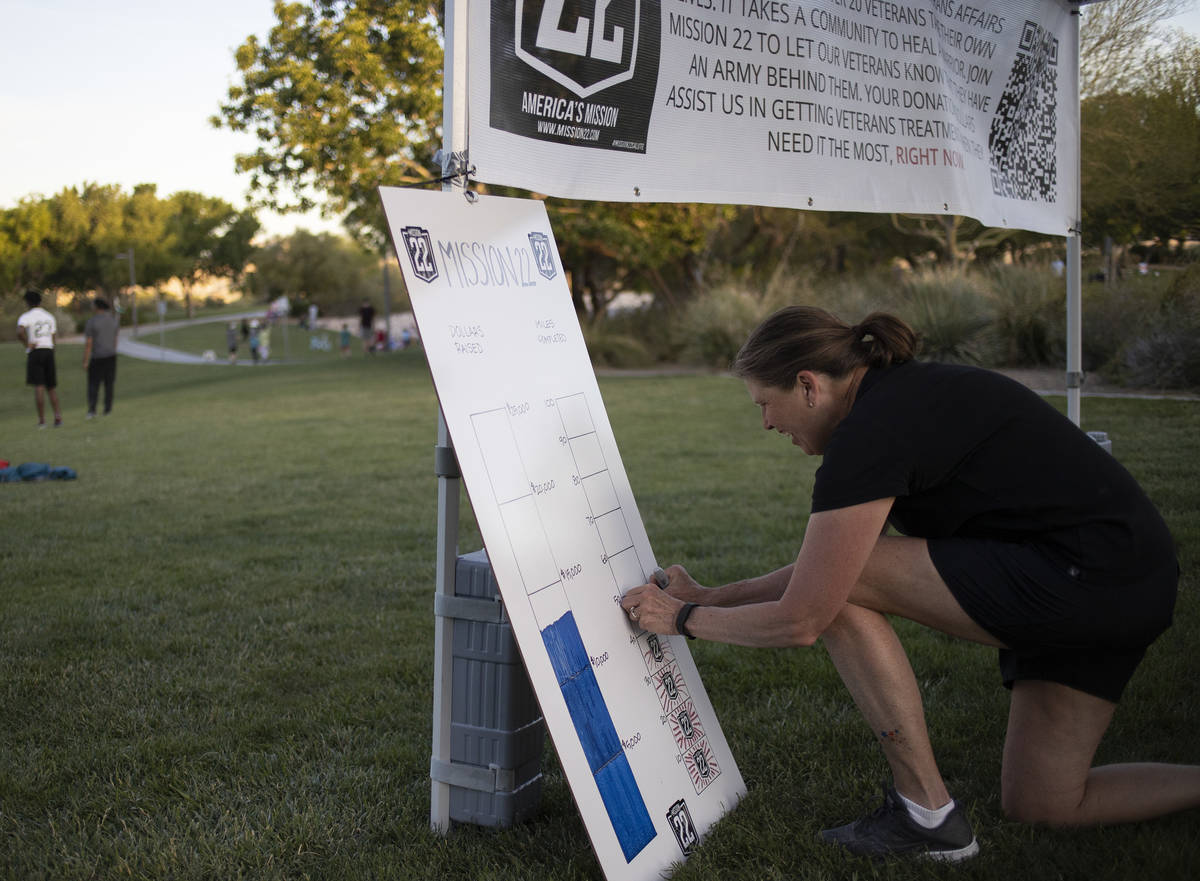 Sue Santrach marks down that her son, Peter Makredes, ran 50 miles since 8 a.m. on Sunday, May ...