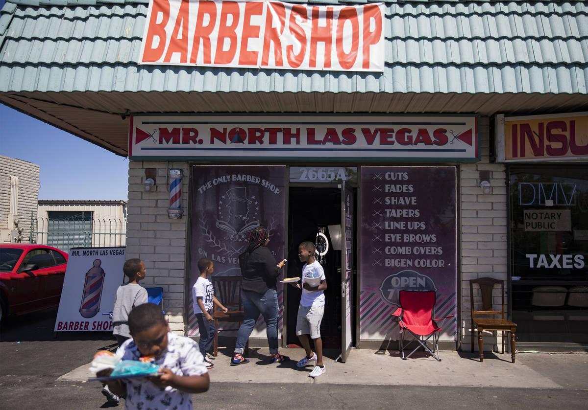 Mr. North Las Vegas Barbershop in North Las Vegas, Sunday, May 24, 2020. Different barbershops ...