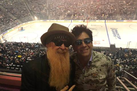 Billy Gibbons of ZZ Top and TV producer Marklen Kennedy are shown before the Vegas Golden Knigh ...