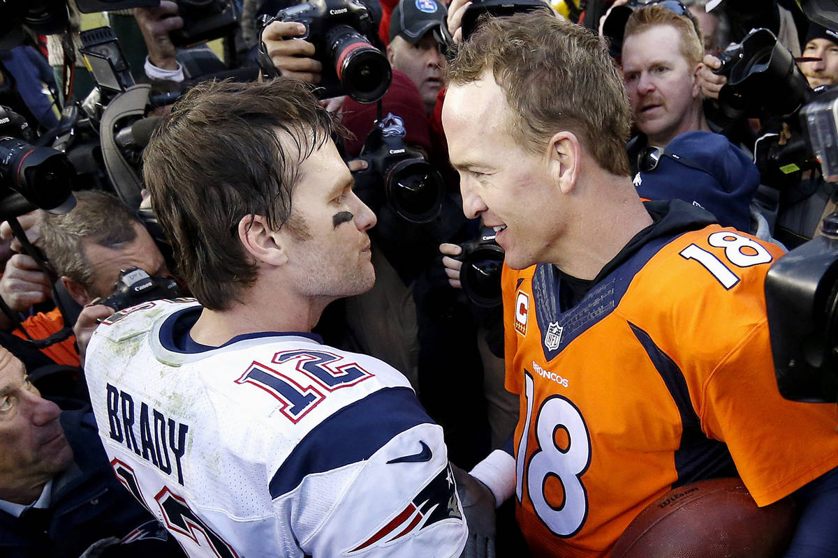 FILE - In this Jan. 24, 2016, file photo, New England Patriots quarterback Tom Brady, left, and ...