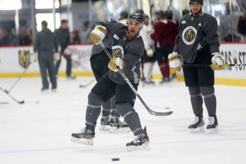 Vegas Golden Knights player Alec Martinez during a team practice at City National Arena in Las ...