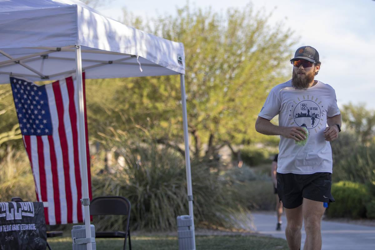 Peter Makredes runs laps around Exploration Peak Park to raise money for Mission 22, an organiz ...