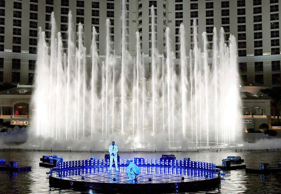 Drake performs at The Bellagio Fountains during the 2017 Billboard Music Awards at T-Mobile Are ...