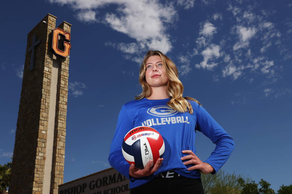 Tommi Stockham, 18, volleyball player from Bishop Gorman, poses for a photo at Bishop Gorman Hi ...
