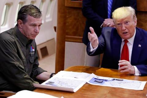 In this Sept. 9, 2019, file photo, President Donald Trump participates in a briefing about Hurr ...