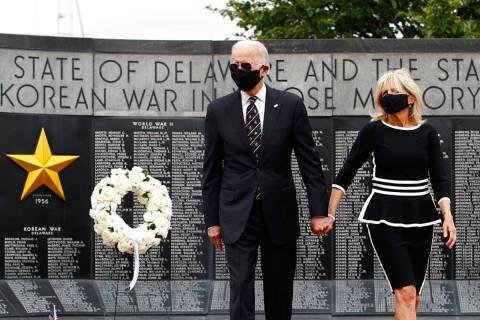 Democratic presidential candidate, former Vice President Joe Biden and Jill Biden depart after ...