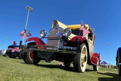 A vintage car is part of Skye Canyon's inaugural Patriotic Car Parade in northwest Las V ...