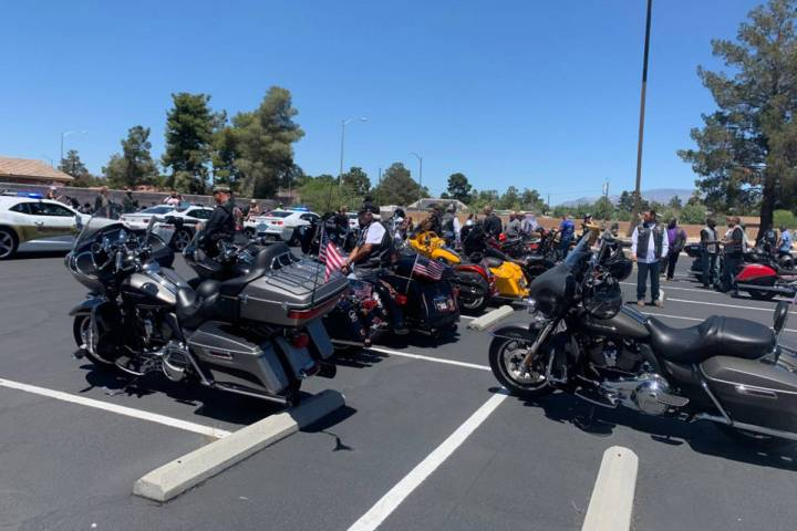 Motorcyclists gather at Foothills Baptist Church before heading to Avamere at Cheyenne, an assi ...