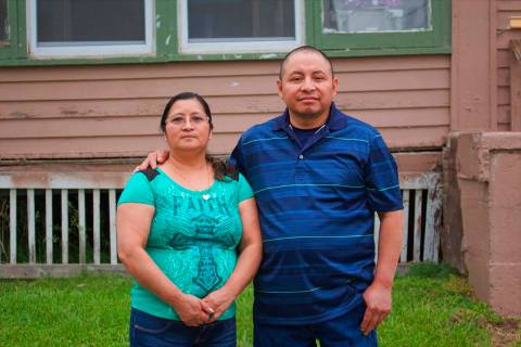 In this photo provided by Cristobal Francisquez, his parents Paulina and Marcos Francisco pose ...
