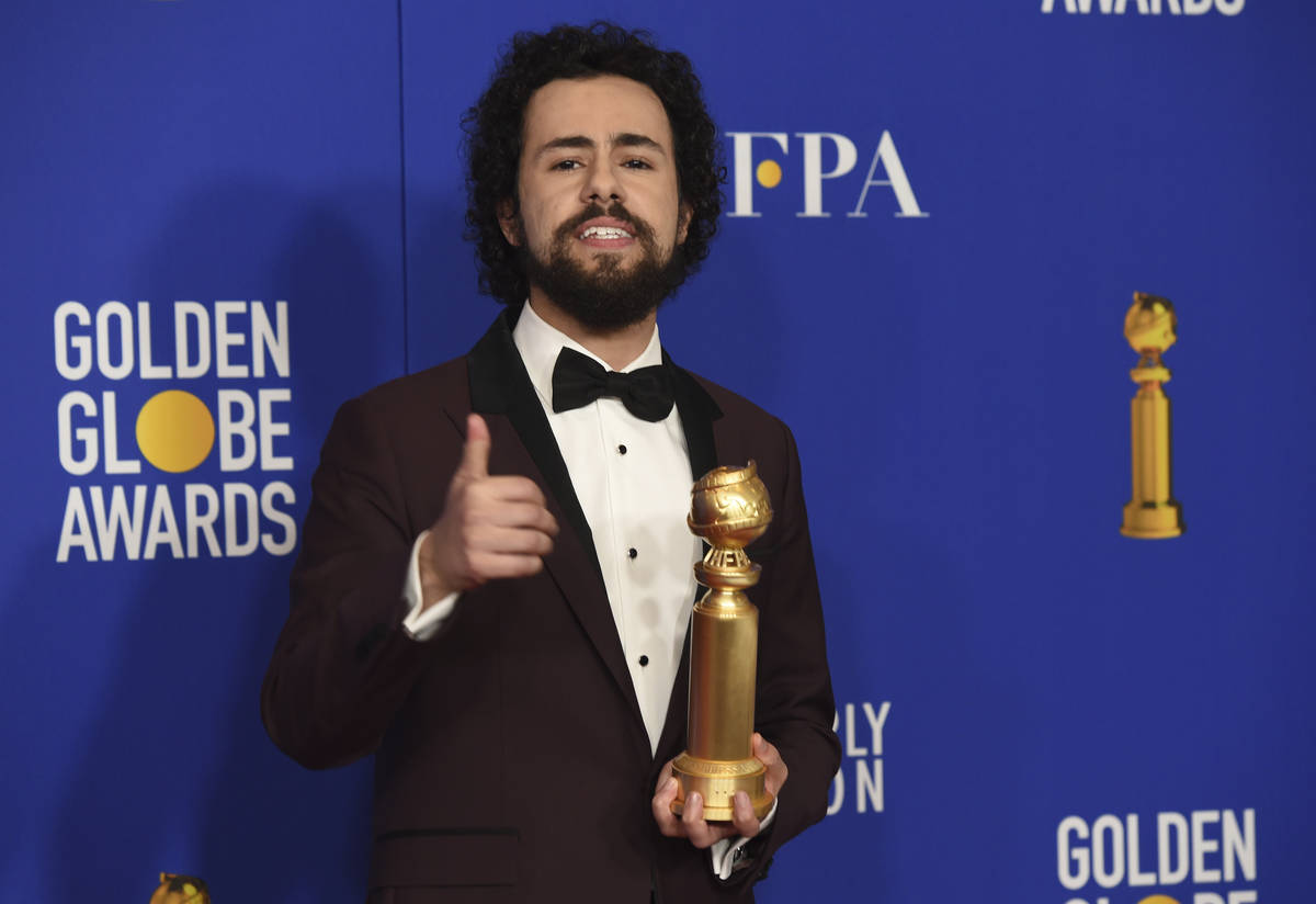 Ramy Youssef poses in the press room with the award for best performance by an actor in a telev ...