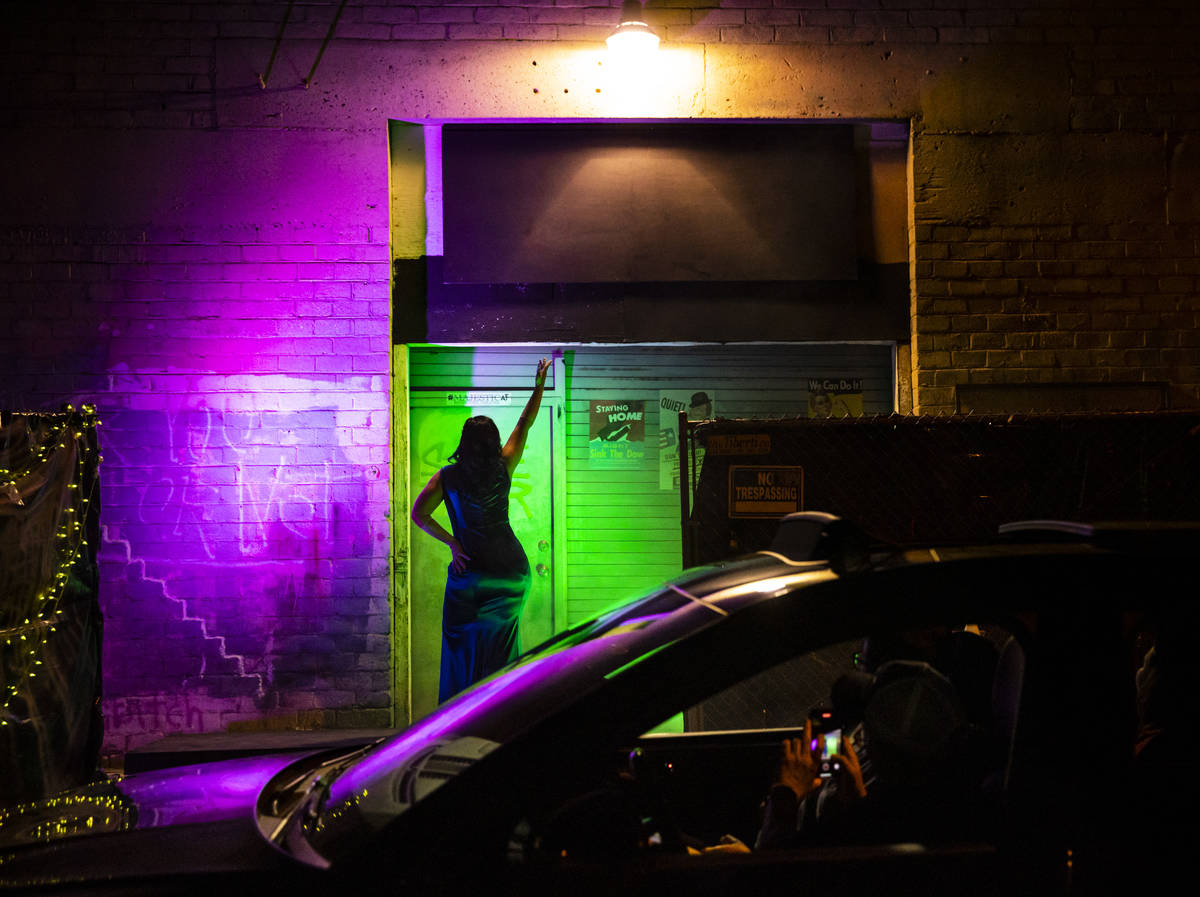 Kim Amblad performs as part of the Majestic Drive-Thru Theatre outside of the Majestic Repertor ...