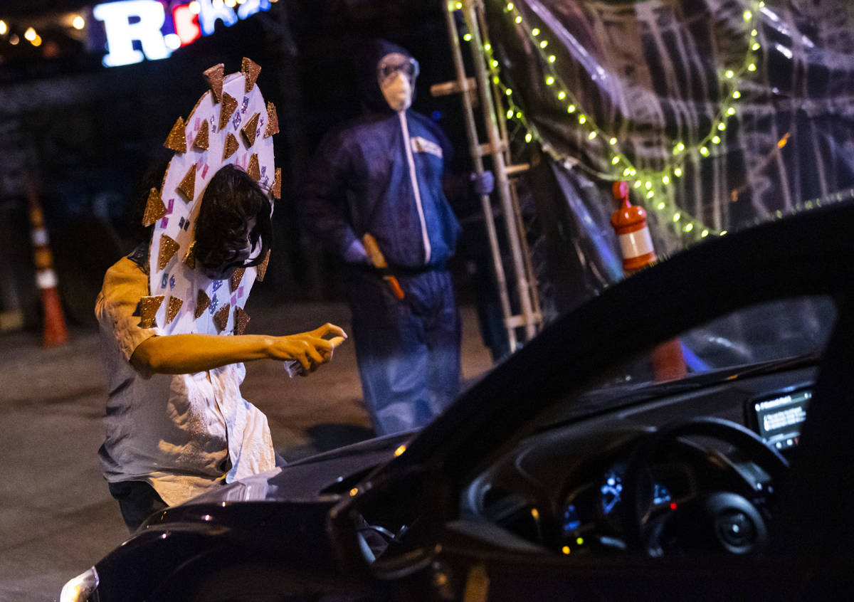Adriana Chavez performs as part of the Majestic Drive-Thru Theatre outside of the Majestic Repe ...