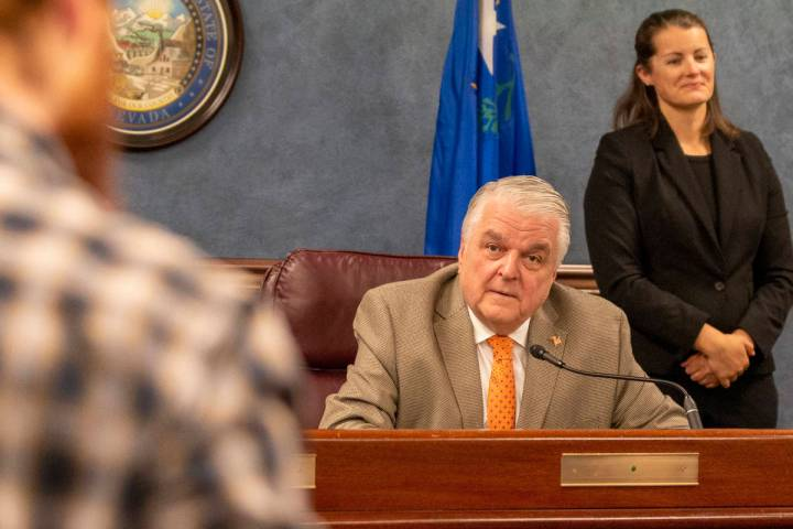 Gov. Steve Sisolak speaks during a press conference to update Nevada citizens about the coronav ...