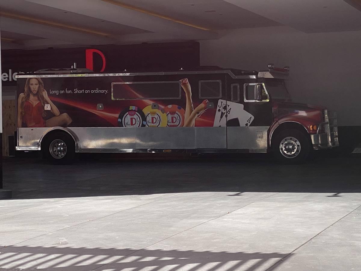A look at the valet entrance and VIP limousine bus at the D Las Vegas, temporarily closed for C ...