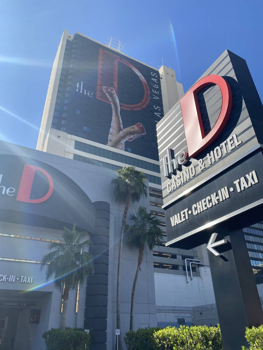 A look at the signs at the D Las Vegas, temporarily closed for COVID-19, on Tuesday, May 26, 20 ...
