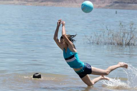 Lizi Daughenbaugh, 13, plays at Boulder beach in the Lake Mead National Recreation Area on Wedn ...