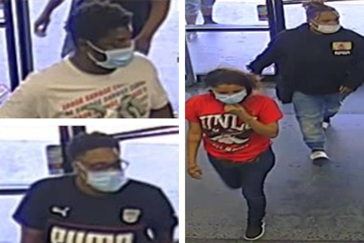 Police seek information on four people connected to a robbery Monday, May 11, 2020, at a busine ...