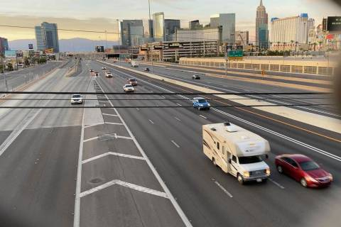 Light traffic seen on Interstate 15 in the Resort Corridor May 14, 2020. (Mick Akers/Las Vegas ...