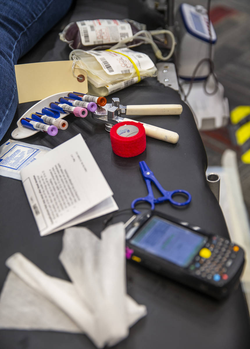 Blood donor supplies used by Red Cross team leader Darryl Thompson Jr., at the American Red Cro ...