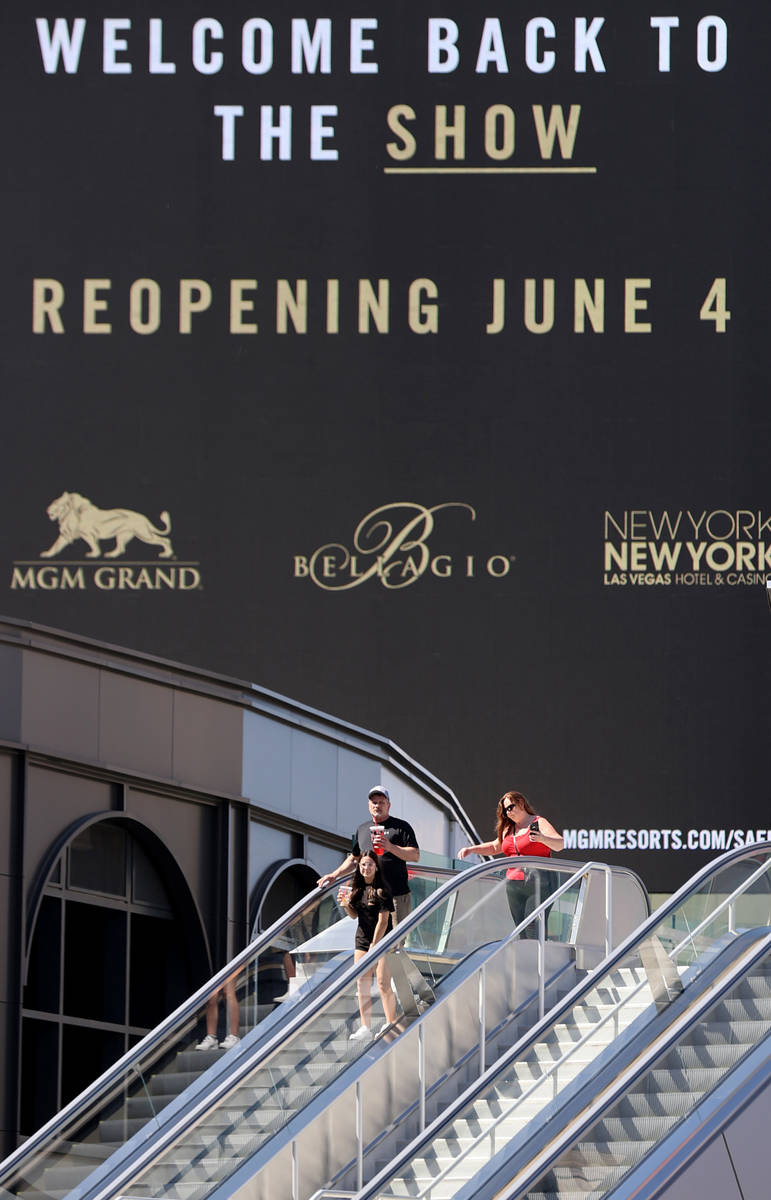 Marquees for MGM Resorts International properties on the Strip in Las Vegas, including Park MGM ...