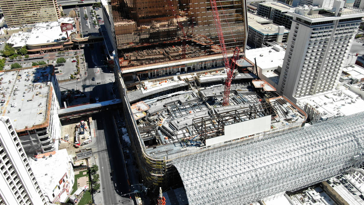 Aerial photo of construction at Circa hotel casino and the multitiered pool amphitheater which ...