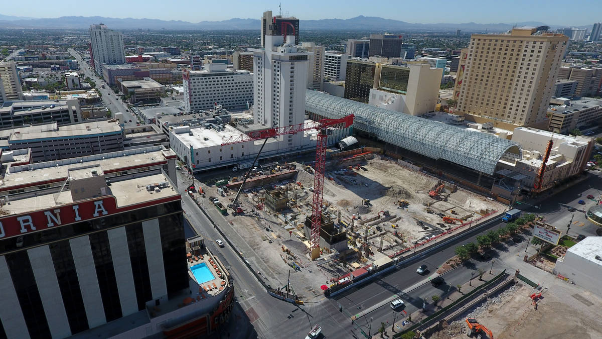Aerial photo of early construction at Circa hotel casino in downtown Las Vegas on Friday, May 3 ...