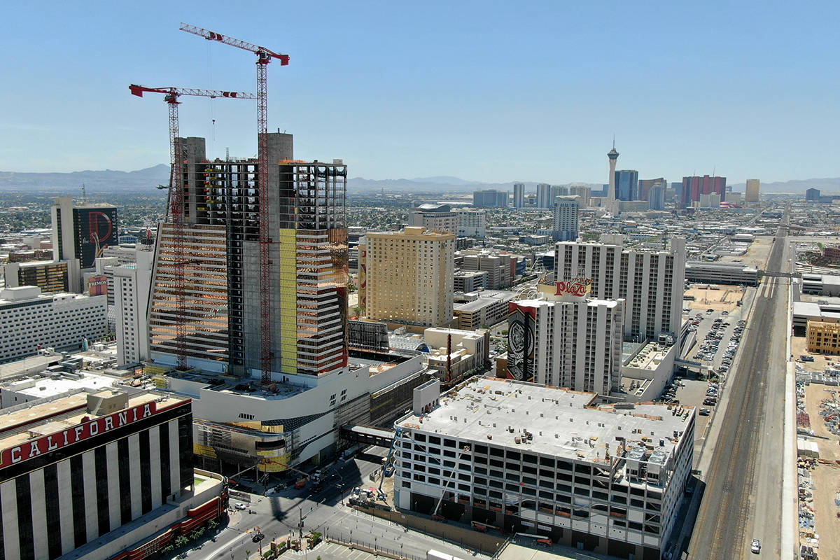 """Aerial photo of construction at Circa hotel casino and the """"Garage Mahal"""" in down ..."""