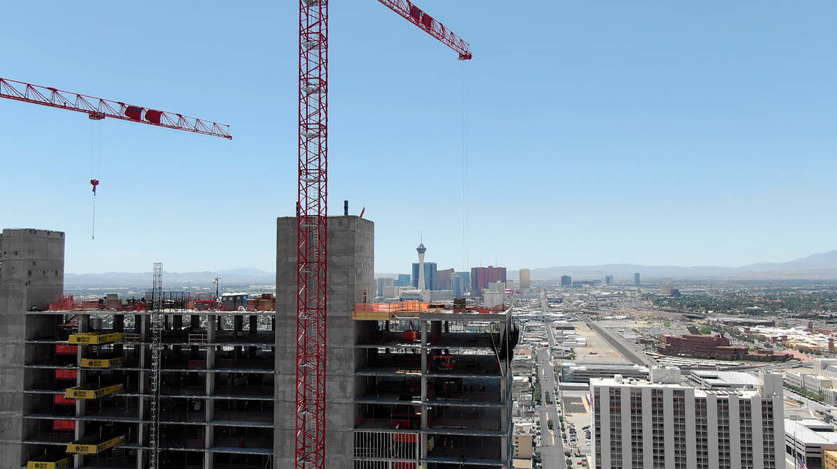 Aerial photo of construction at Circa hotel casino destined to be the tallest building in downt ...