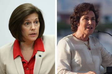 Sen. Catherine Cortez Masto, D-Nev., left, said she and Sen. Jacky Rosen, D-Nev., have talked w ...