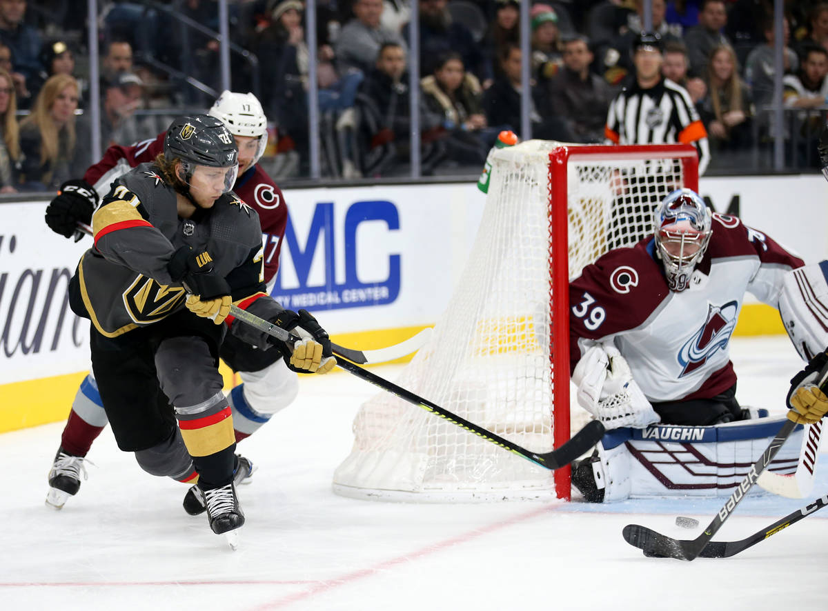 Vegas Golden Knights center William Karlsson (71) centers the puck in front of Colorado Avalanc ...