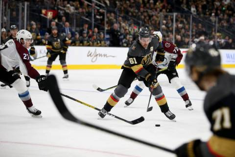 Vegas Golden Knights right wing Mark Stone (61) and Colorado Avalanche defenseman Ryan Graves ( ...