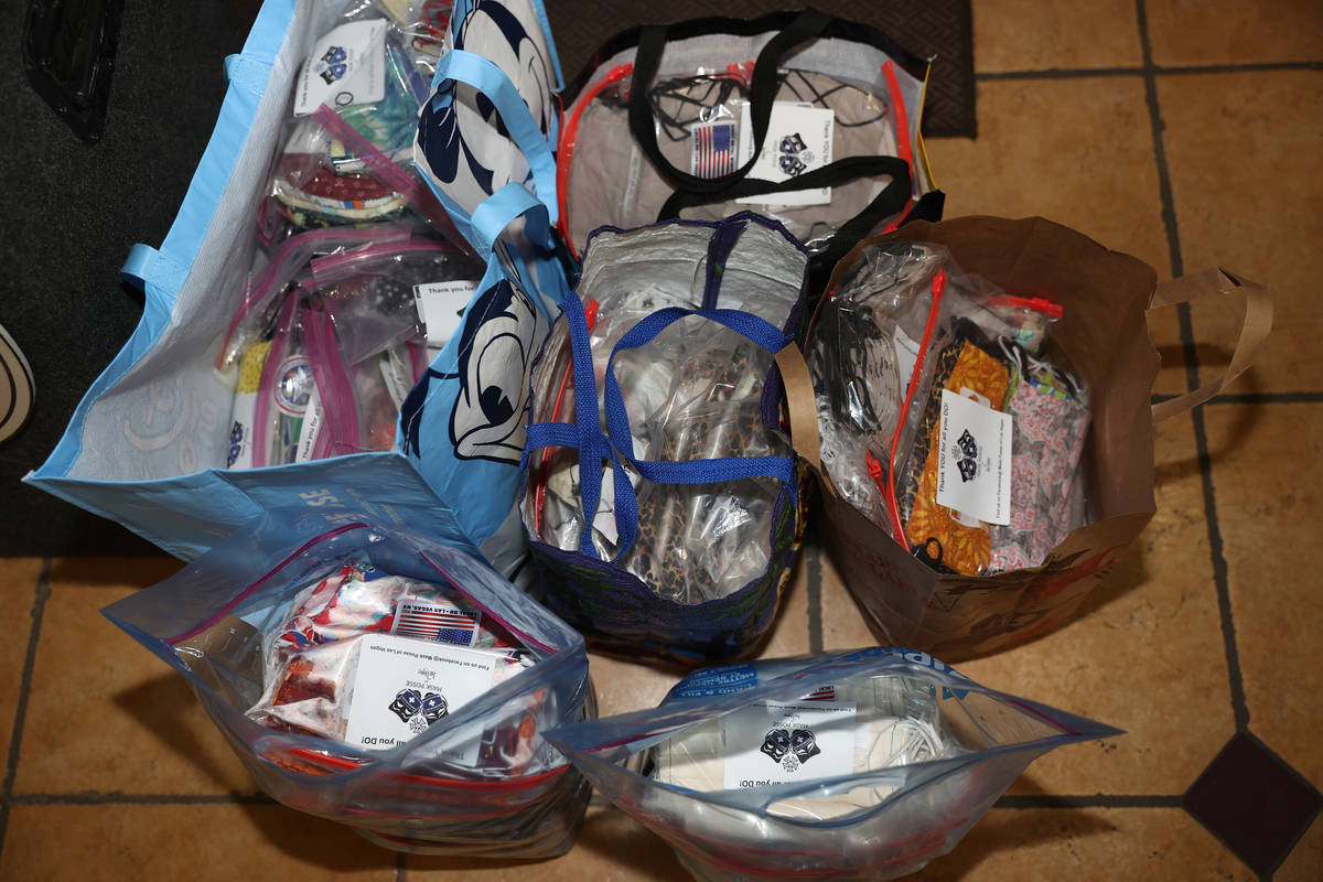 A donation of 1,500 masks by Mask Posse of Las Vegas to residents at the Stewart Pines Apartmen ...