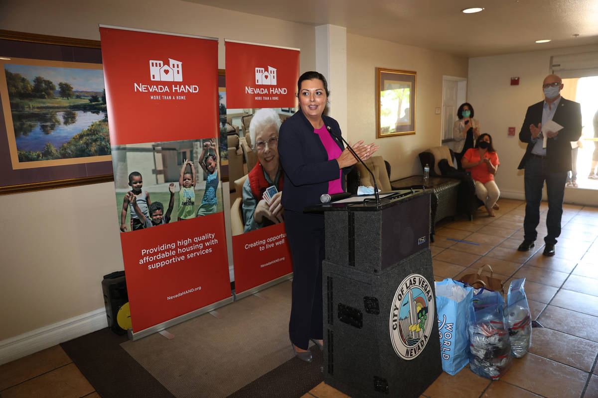 Las Vegas Councilwoman Olivia Diaz speaks during a press conference on the donation of 1,500 ma ...