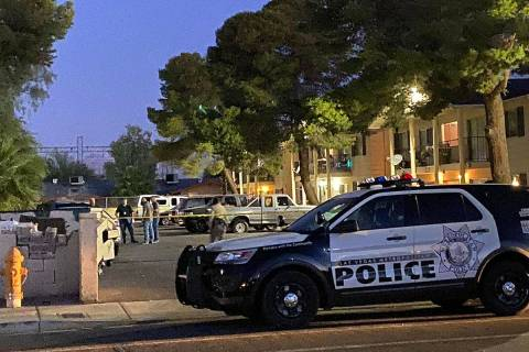 Las Vegas police at the scene early Thursday, May 28, 2020, after a homicide was reported late ...