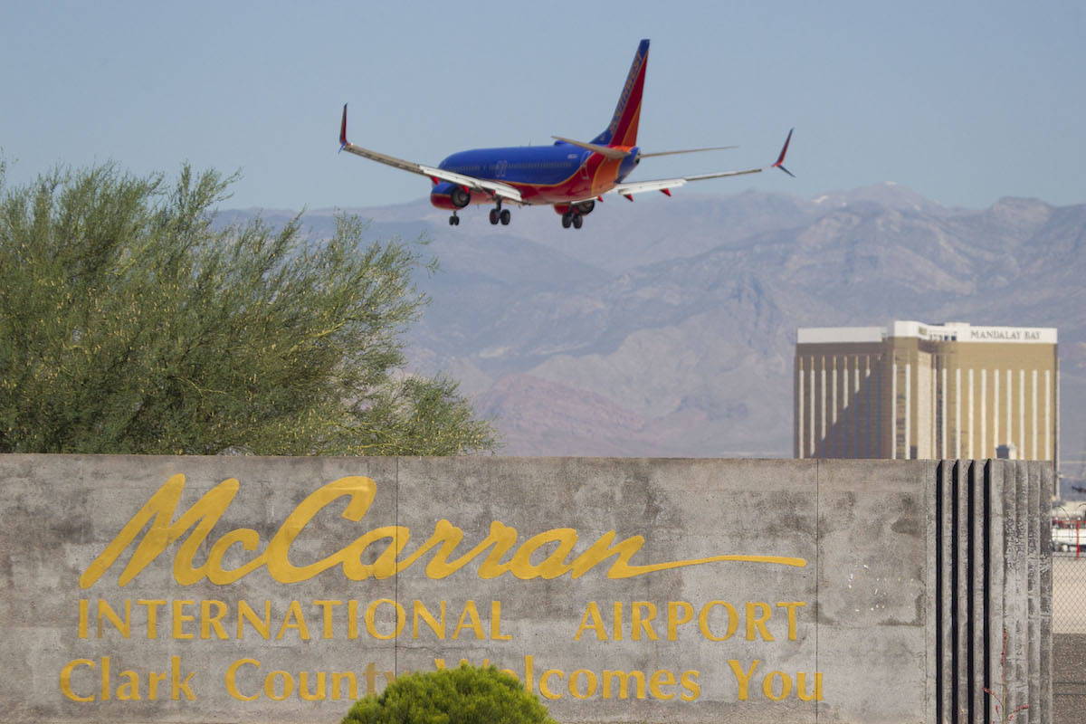 A Southwest Airlines jetliner makes its approach to McCarran International Airport in Las Vegas ...