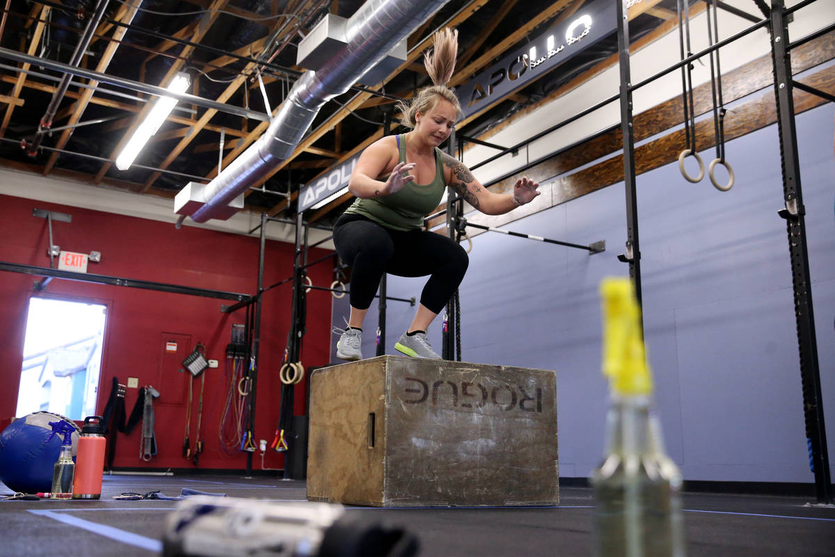 Kelci Swartz works out during a class at Crossfit Apollo in Las Vegas, Friday, May 29, 2020. Th ...