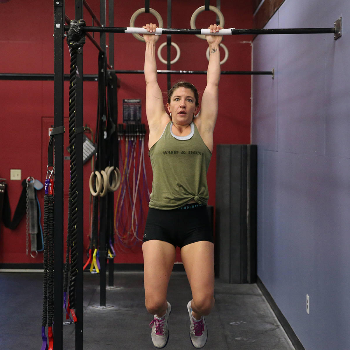 Kaydee Weida works out during a class at Crossfit Apollo in Las Vegas, Friday, May 29, 2020. (E ...