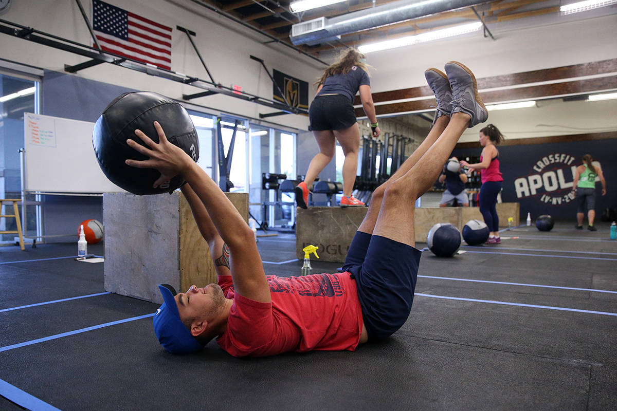 Peter Rivera works out during a class at Crossfit Apollo in Las Vegas, Friday, May 29, 2020. Th ...